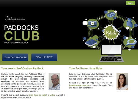 Paddocks Club homepage