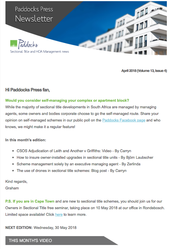 Paddocks Press April Newsletter