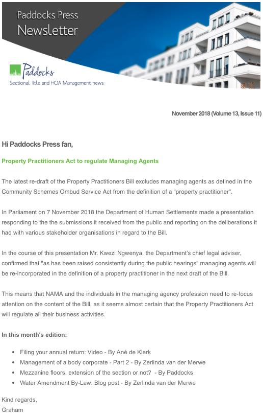 Paddocks Press, November 2018
