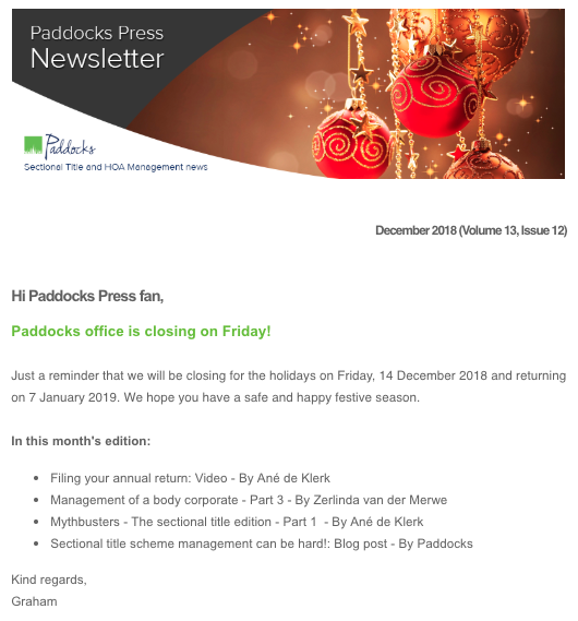 Paddocks Press, December 2018