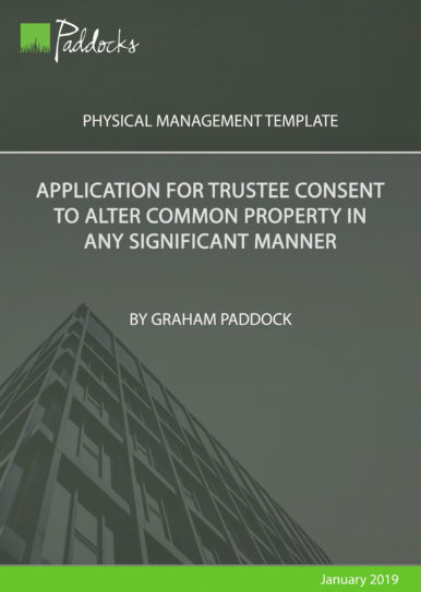 Application for trustee consent to alter common property in any significant manner by Graham Paddock