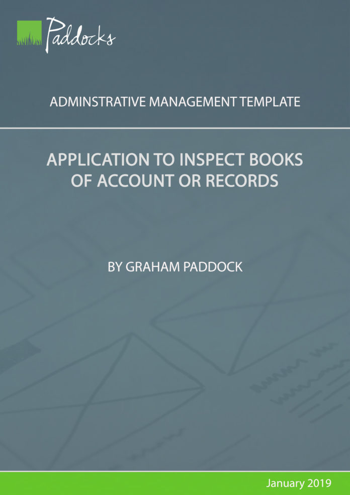 Tempalte by Graham Paddock - Application to inspect books of account or records