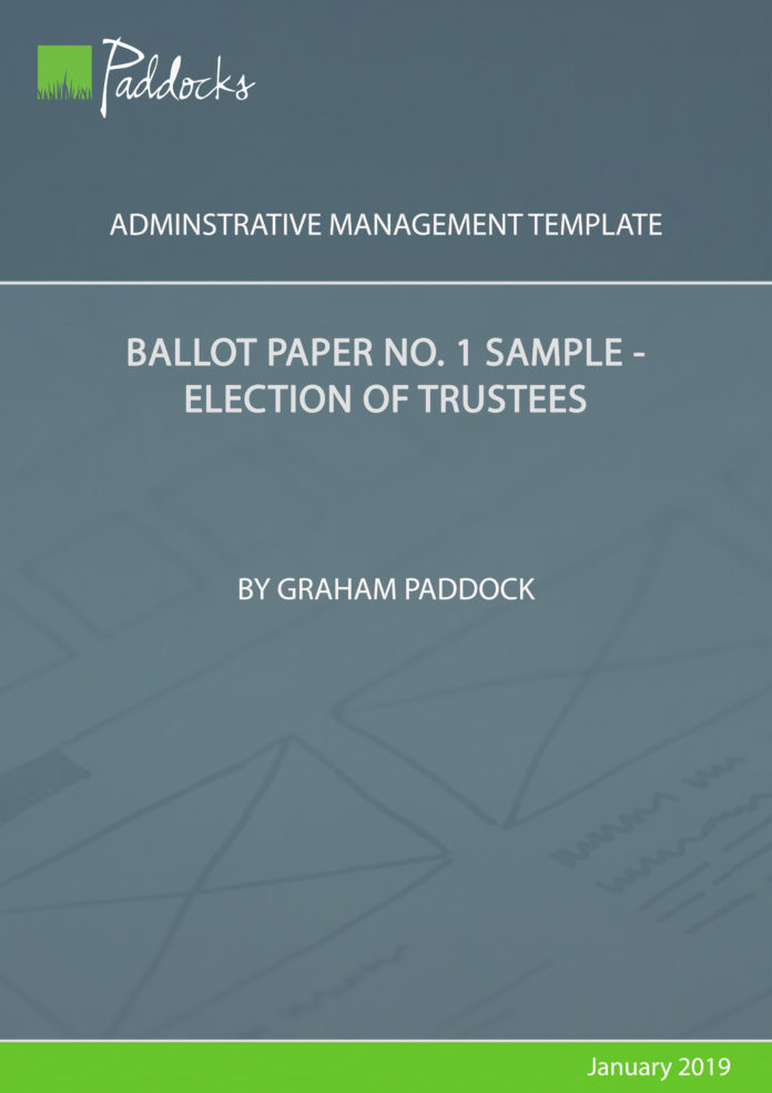 Ballot paper no 1 sample election of trustees