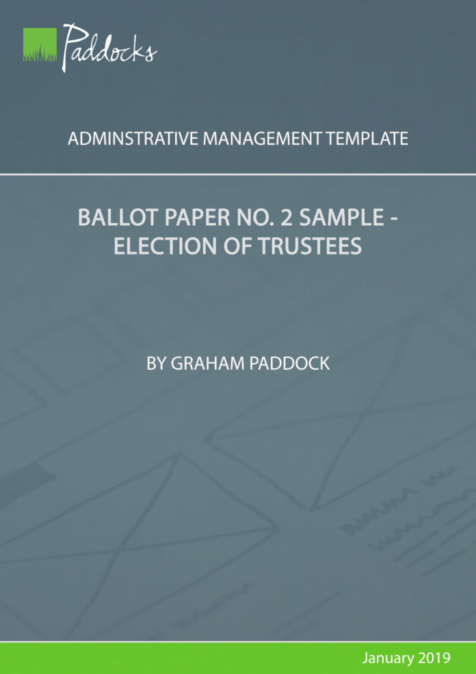 Ballot paper no 2 sample election of trustees - by Graham Paddock