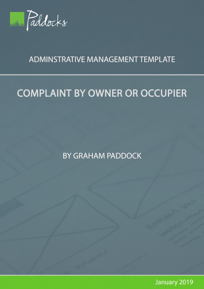 Complaint by owner or occupier - template by Graham Paddock