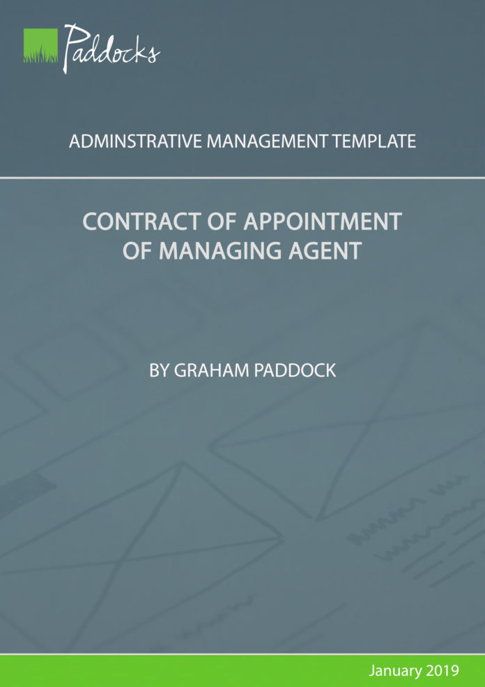 Contract of appointment of managing agent - by Graham Paddock