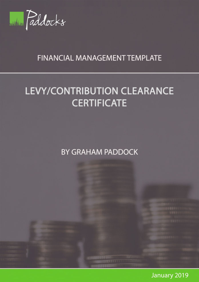 Contribution clearance certificate by Graham Paddock
