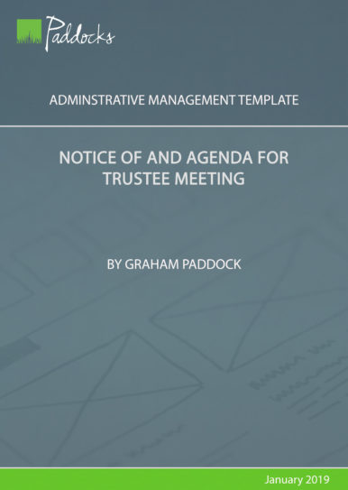 Notice of and agenda for trustee meeting template by Graham Paddock