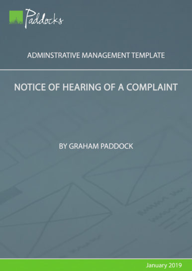 Notice of hearing of a complaint by Graham Paddock