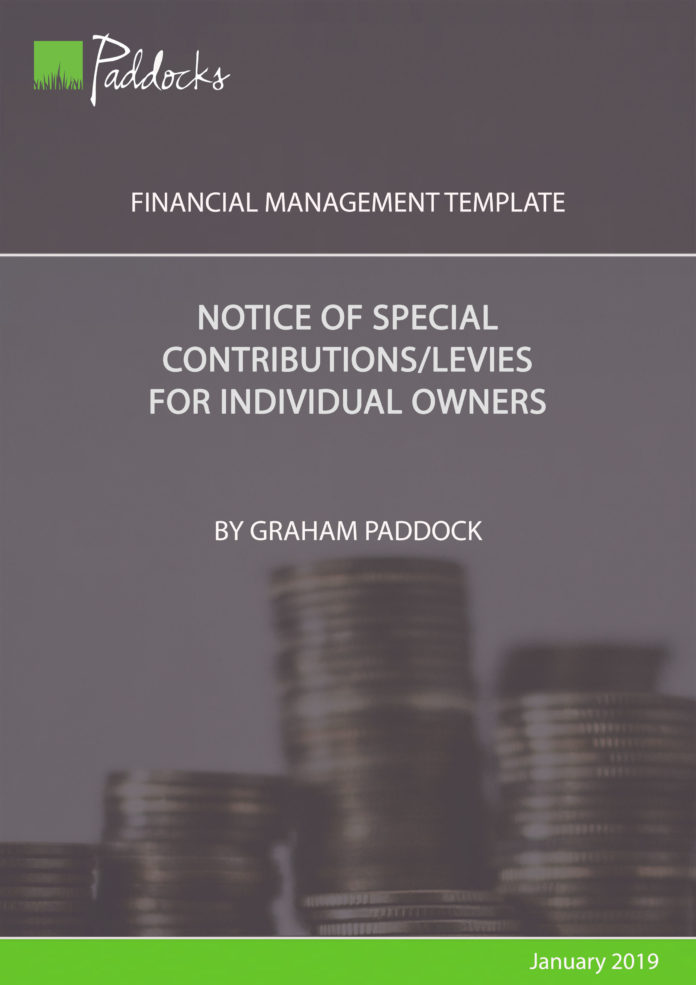 Notice of special contributions for individual owners - by Graham Paddock
