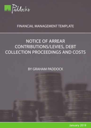 Notice or arrear contributions_levies, debt collection proceedings and costs