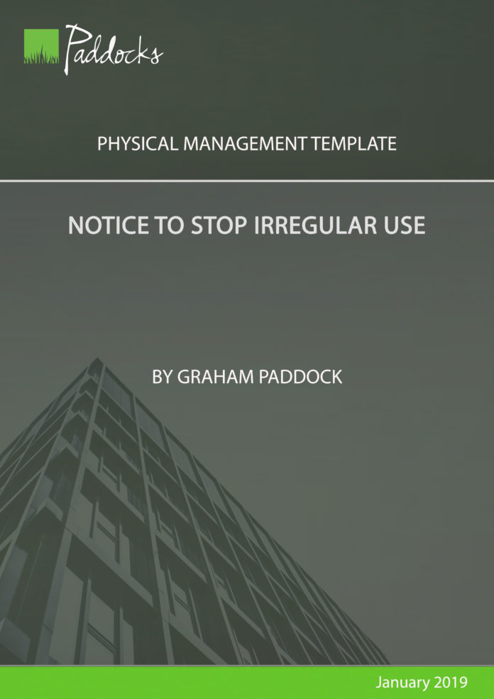 Notice to Stop Irregular Use by Graham Paddock