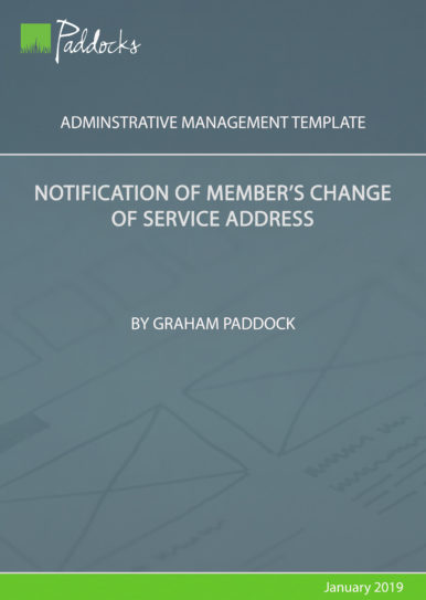 Notification of member's change of service address - by Graham Paddock