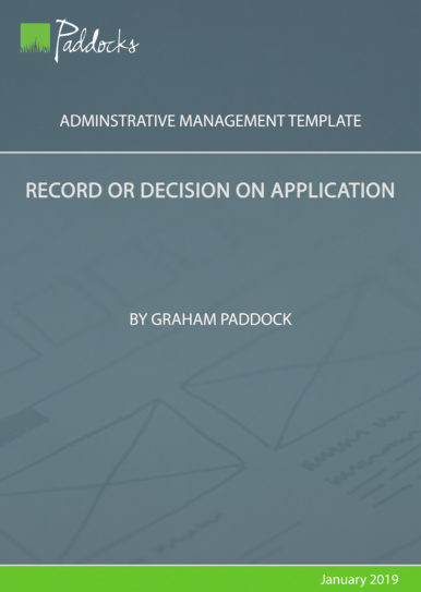 Record or decision on application - template by Graham Paddock