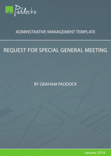 Request for special general meeting - template by Graham Paddock