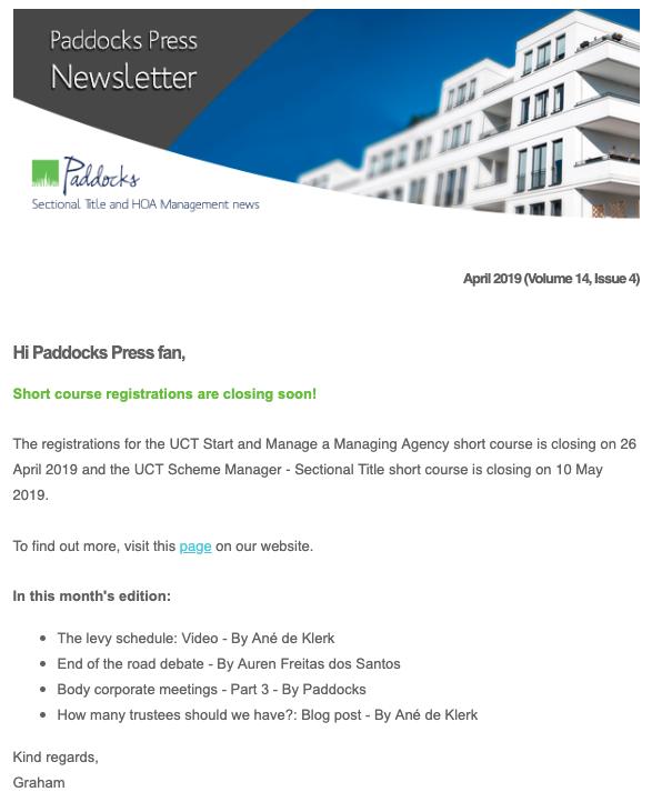 Paddocks Press, April 2019