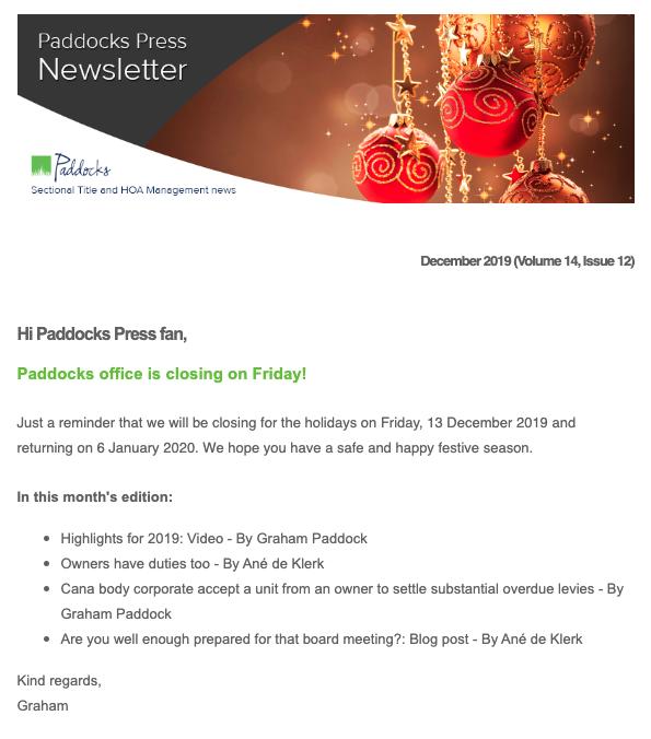 Paddocks Press, November 2019