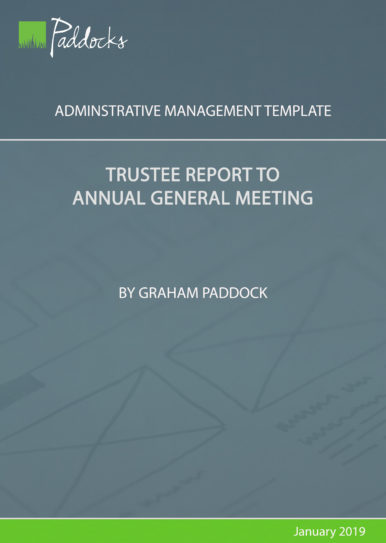 Trustee report to annual general meeting - template by Graham Paddock