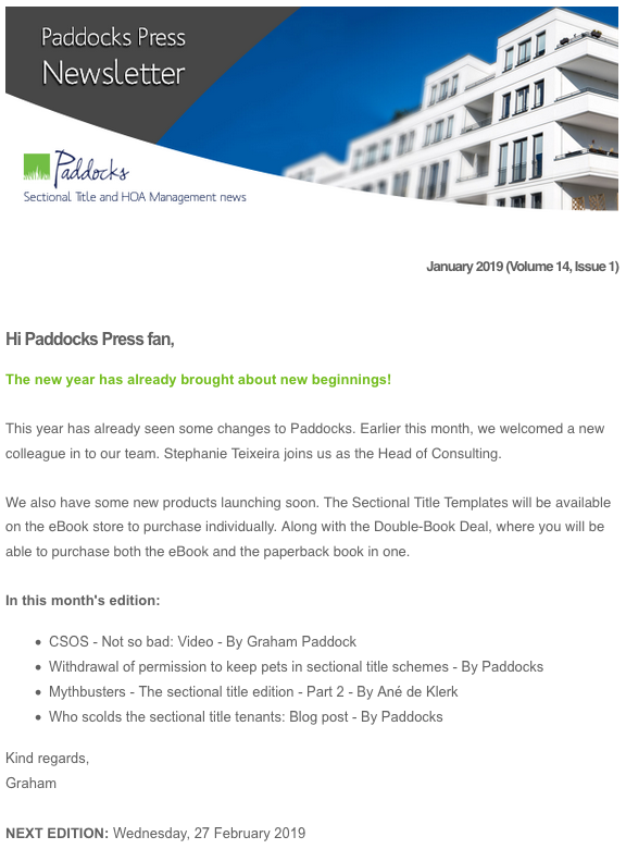 Paddocks Press, January 2019