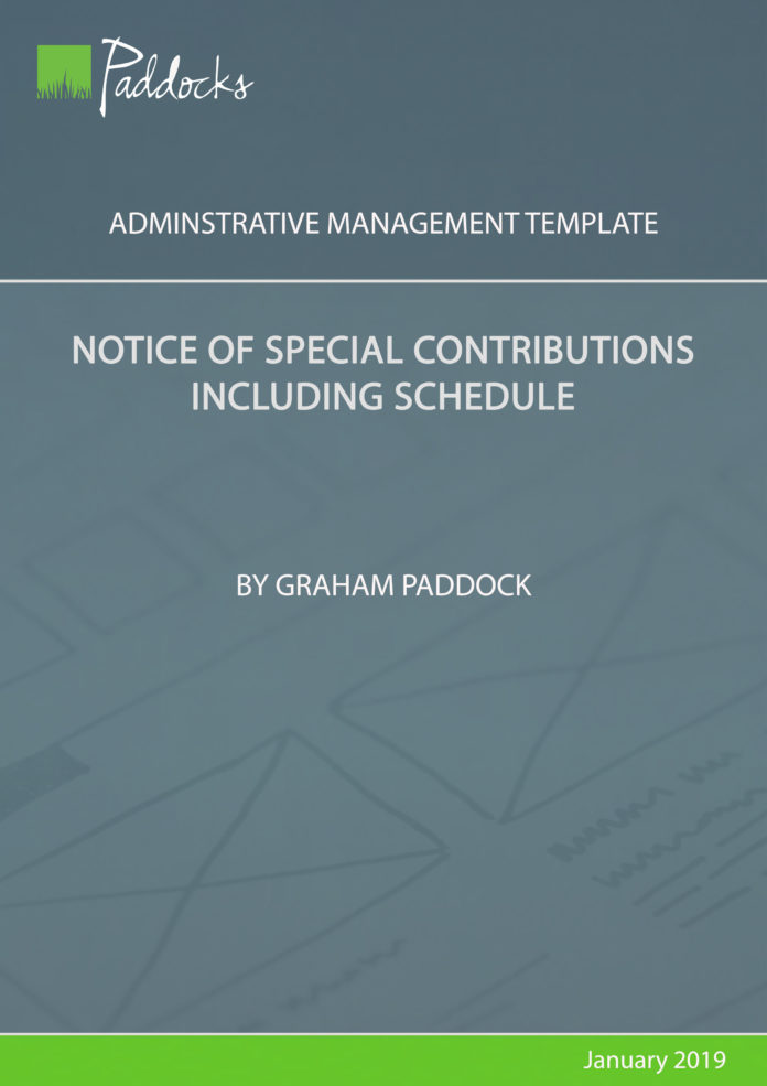 Notice of special contributions including schedule by Graham Paddock