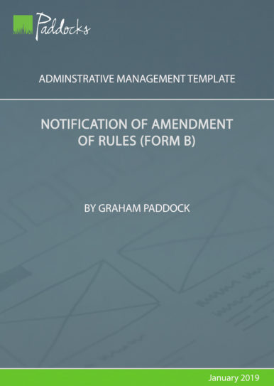Notification of amendment of rules (form B) - by Graham Paddock