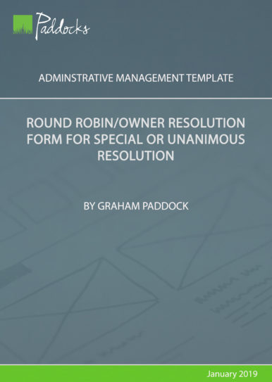 Round robin_owner resolution form for special or unanimous resolution
